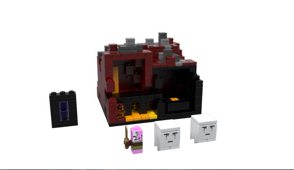 The Nether set is dark and spooky. Watch out for zombie Pigmen!