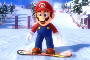 Mario sharpens his snowboarding skills for Sochi 2014!