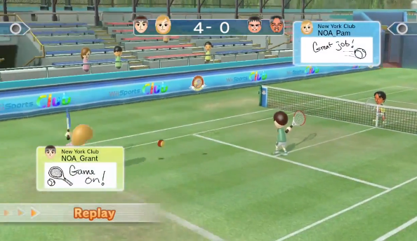 You'll be able to play tennis online against other sports clubs, and communicate using MiiVerse