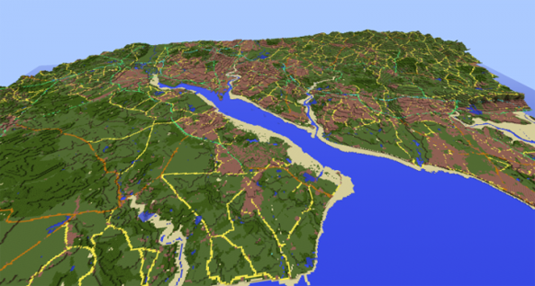 This is Southampton created in Minecraft, a city on the south coast of England