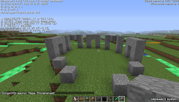 Stonehenge, in Wiltshire, recreated in Minecraft blocks
