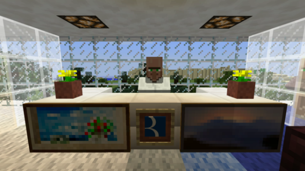 Kids make their dad's office in Minecraft