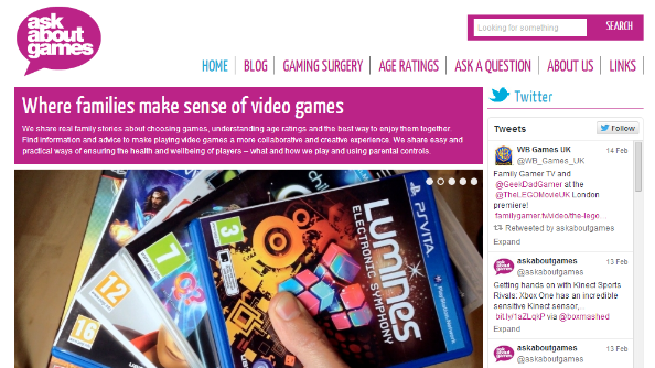 The Ask About Games homepage, filled with helpful information for parents
