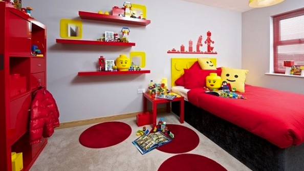 The funky Lego-themed bedroom
