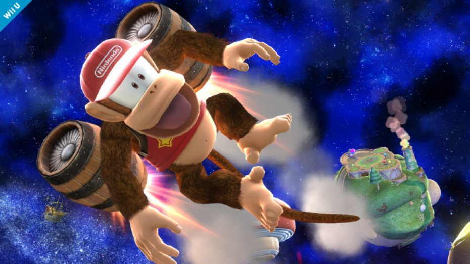 Diddy Kong joins the fight in Super Smash Bros.