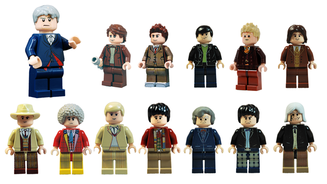 All 12 Doctors, from William Hartnell to Peter Capaldi, and the War Doctor, as minifigs!