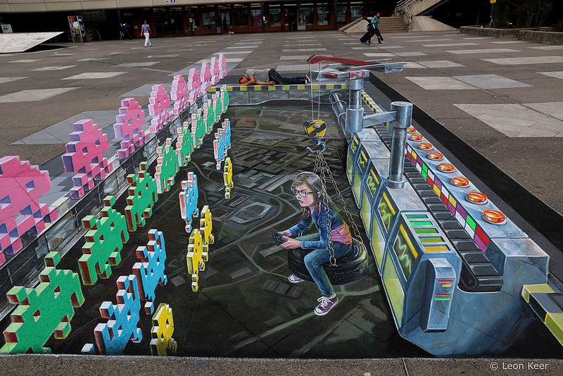 3D Street Art Project: Space Invaders Made With Chalk!