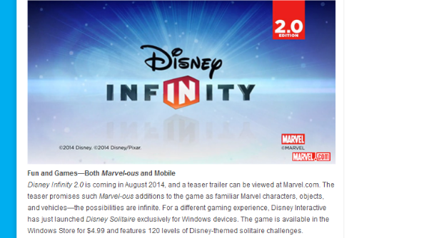 Disney fan newsletter D23 reveals that Disney Infinity 2.0 will be released in August