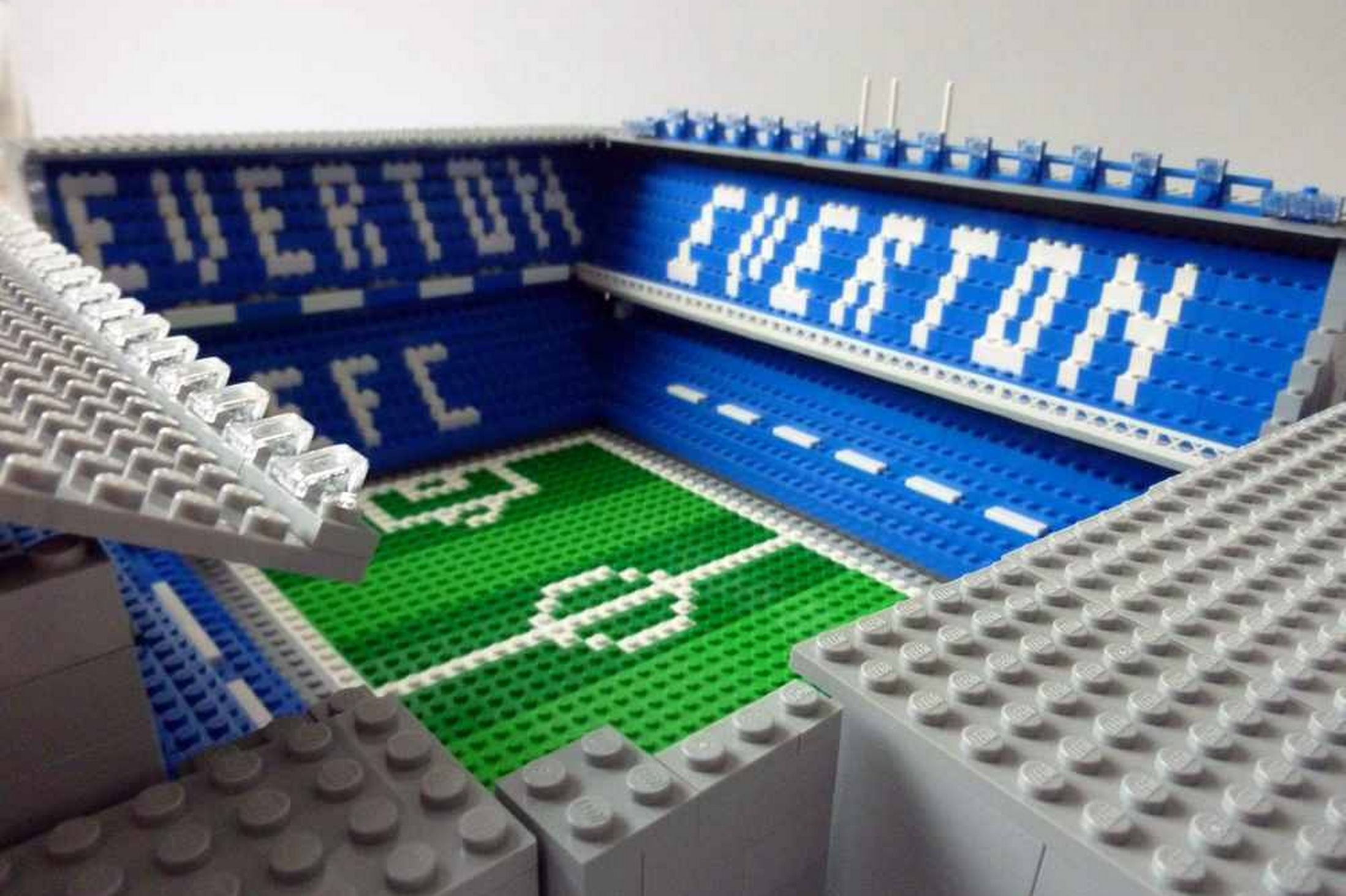 Anfield and Goodison Park built from LEGO