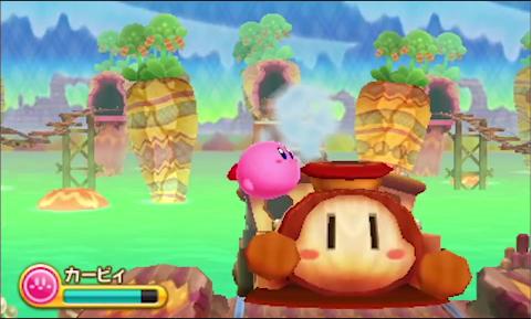 Kirby swallows a train in Triple Deluxe trailer