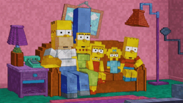 The Simpsons does Minecraft for couch gag