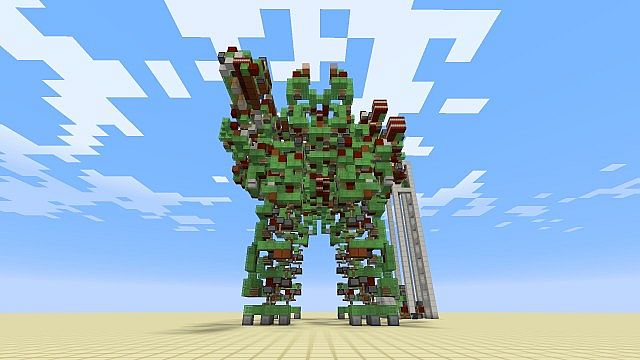 Giant Battle Robot built in Minecraft really works