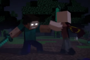 Notch vs Herobrine fight video minecraft