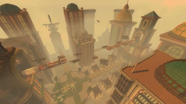 The world of Ratchet and Clank inside Minecraft