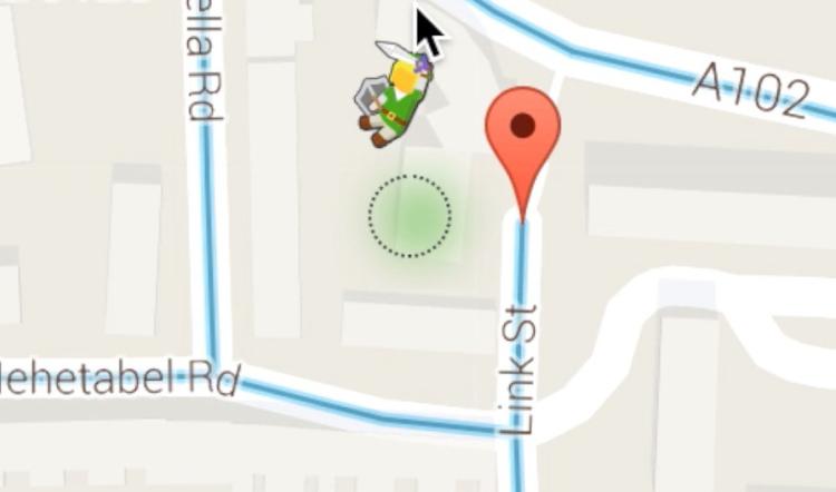 Zelda in Google Maps, well Link actually